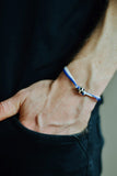 Blue and white soccer bracelet for men