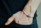 Red and white soccer bracelet for men - shani-adi-jewerly