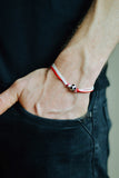 Red and white soccer bracelet for men