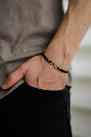 Bronze Infinity bracelet for men, black cord -  for him - shani-adi-jewerly