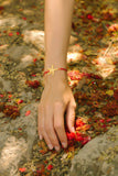 Gold starfish bracelet red cord womens bracelet - shani-adi-jewerly