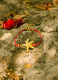 Gold starfish bracelet red cord womens bracelet