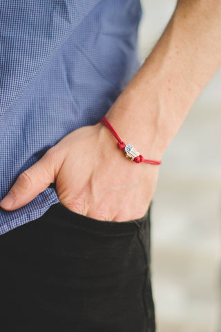 USA map shape bracelet for men, red cord, 4th of July gift - shani-adi-jewerly