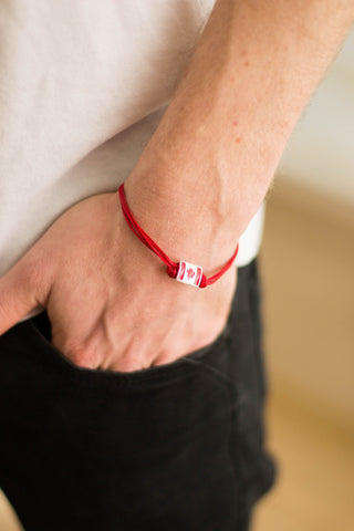 Canada bracelet for men, men's bracelet, Canada flag bead red cord - shani-adi-jewerly