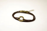 Wrapped believe bracelet, bronze charm, brown cord, mothers day gift