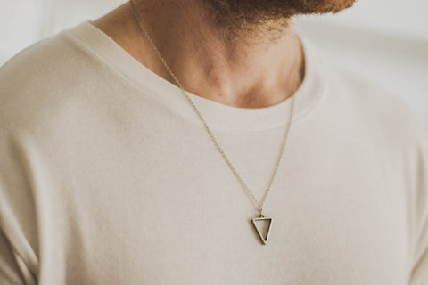 Silver triangle necklace for men, stainless steel chain necklace - shani-adi-jewerly