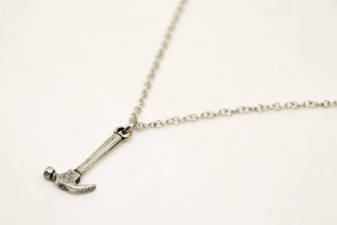 Silver hammer stainless steel chain necklace for men - shani-adi-jewerly