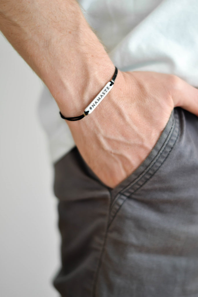 Silver Namaste charm bracelet for men, black cord, gift for him - shani-adi-jewerly