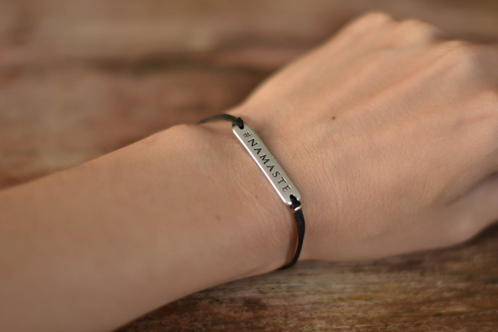 Silver Namaste bracelet for women, black cord, yoga jewelry, gift for her