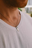 stainless steel chain, silver tone saw necklace for men