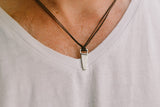 Silver Saw necklace for men, black cord