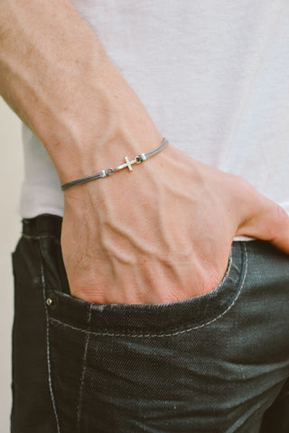 Cross bracelet for men, gray cord - shani-adi-jewerly