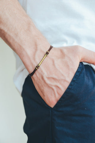 Brown cord bracelet for men with long bronze bar