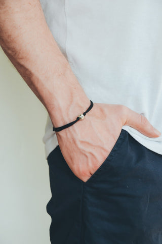 Men's bracelet with silver bead charm and a black cord - shani-adi-jewerly