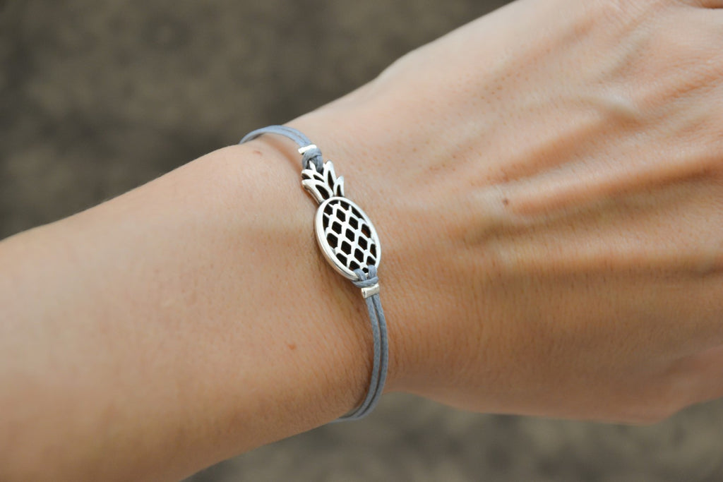 Pineapple bracelet, gray cord - shani-adi-jewerly