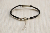 Womens bracelet with silver triangle, Geometric bracelet, black cord - shani-adi-jewerly