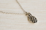 Silver pineapple pendant, stainless steel chain necklace for her