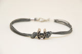 Silver Horseshoe bead bracelet for men, gray cords