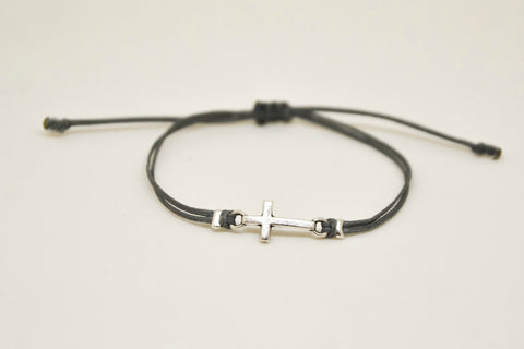Women bracelet with silver cross charm, Gray cord - shani-adi-jewerly
