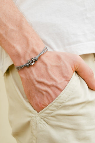 Silver Horseshoe bead bracelet for men, gray cords - shani-adi-jewerly