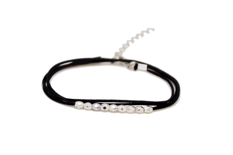 Wrap silver beads bracelet, black cord - shani-adi-jewerly