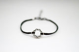 Karma bracelet, silver braided circle charm and black string, yoga jewelry