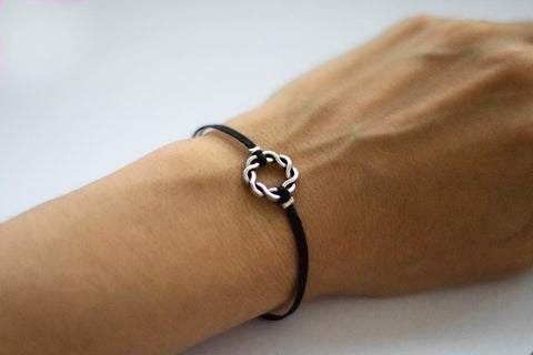 Karma bracelet, silver braided circle charm and black string, yoga jewelry - shani-adi-jewerly