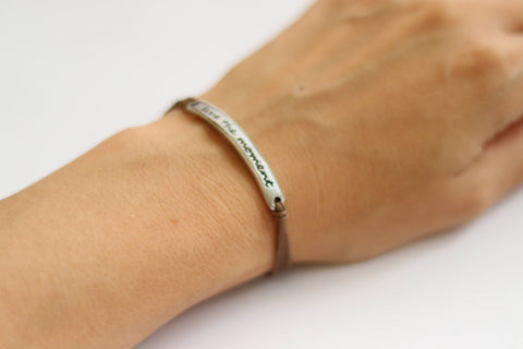 Silver Live the moment bracelet for women, brown cord, yoga jewelry, gift for her
