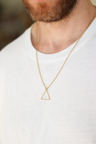 Gold triangle necklace for men, stainless steel chain necklace