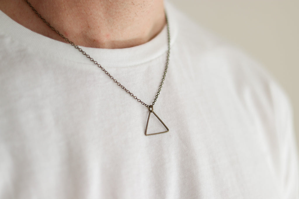 Bronze triangle necklace for men, chain necklace - shani-adi-jewerly