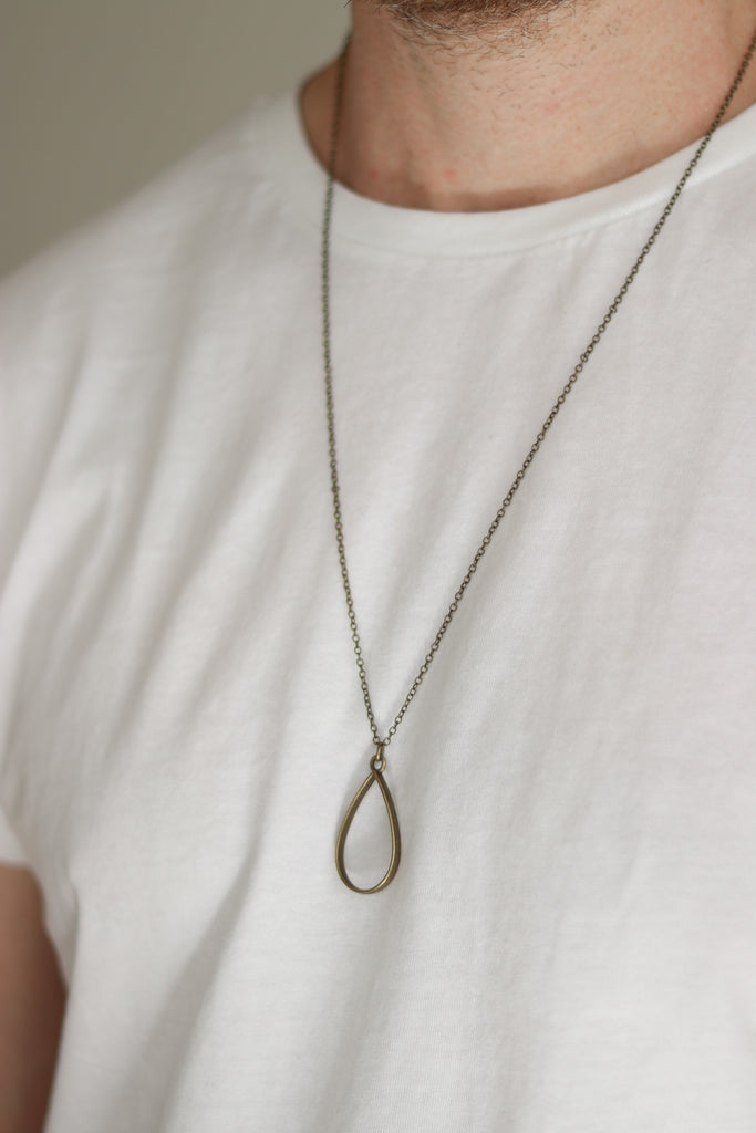 Bronze tear shape necklace for men, chain necklace - shani-adi-jewerly