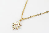 Gold sun necklace for women, stainless steel chain necklace, valentines day gift