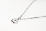 Silver sun necklace for women, stainless steel chain necklace, valentines day gift