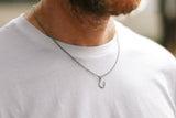 Small silver horseshoe necklace for men, stainless steel chain necklace, waterproof