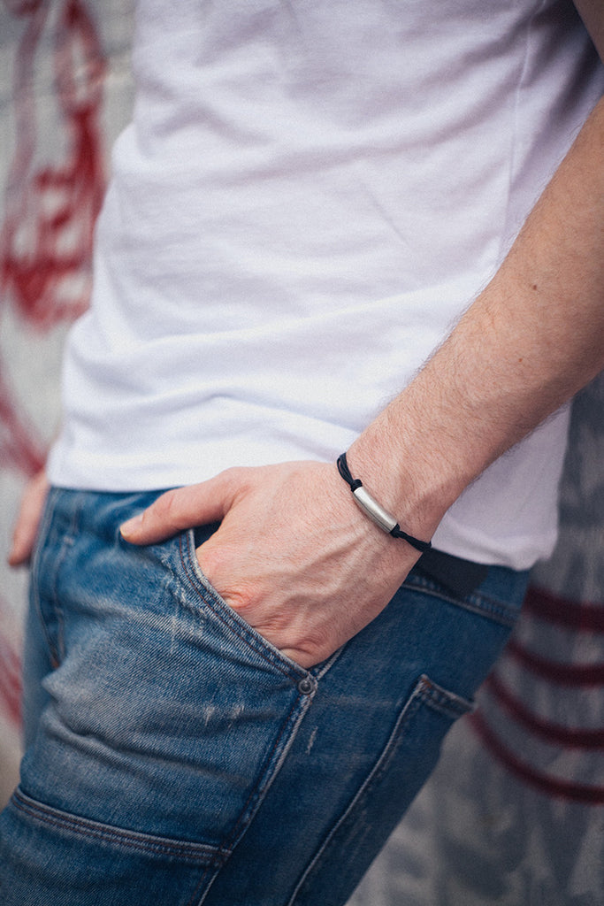 mens bracelets, black cord bracelet for men with a long silver tube bar - shani-adi-jewerly