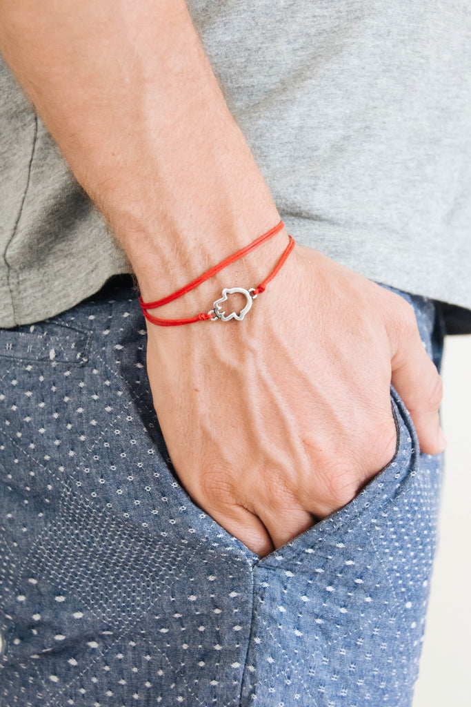 Wrapped Hamsa bracelet for men, red cord - shani-adi-jewerly