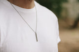 Silver bar necklace for men, chain necklace, waterproof, gift for him