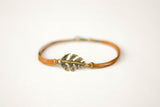 Bronze Leaf bracelet for men, brown cord