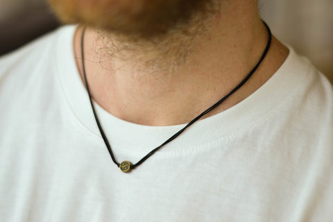Bronze Yin Yang necklace for men, black cord - shani-adi-jewerly