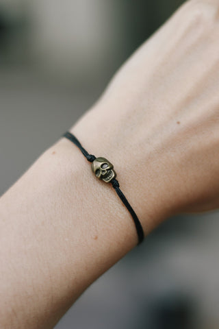 Bronze skull bead bracelet, black string, gift for her, adjustable bracelet