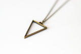Triangle necklace for men, groomsmen gift, men's necklace with a bronze triangle pendant, bronze chain, gift for him, geometric necklace