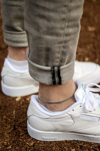 Men's ankle bracelet, silver tone link chain anklet for him