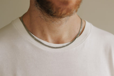 Silver link chain necklace for men, gift for him