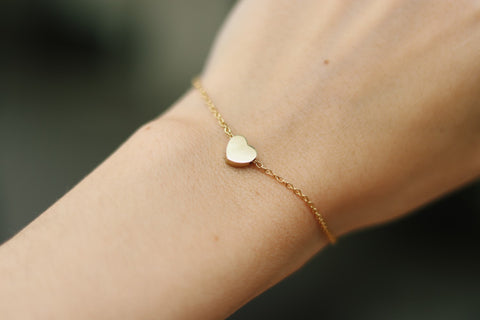 Heart bracelet, waterproof gold chain bracelet, tiny heart bead charm bracelet, personalised