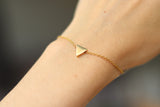 Triangle bracelet, waterproof gold chain bracelet, tiny triangle bead charm bracelet