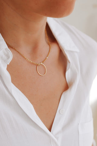 Karma necklace, gold eternity open circle stainless steel chain Layering necklace
