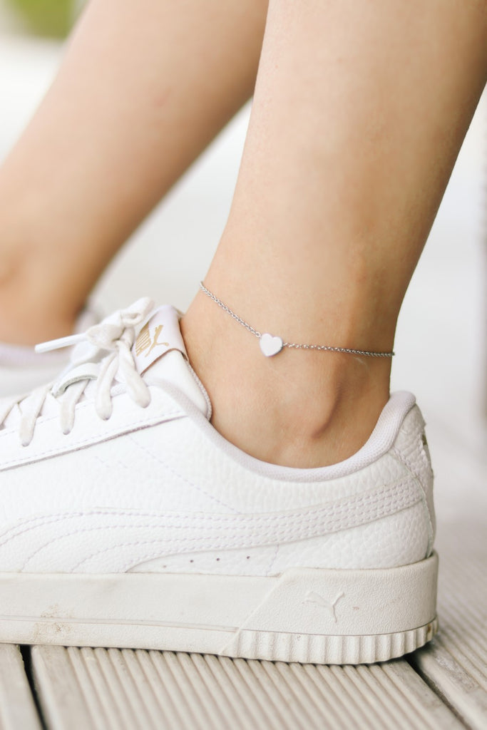 Heart anklet, waterproof silver chain ankle bracelet, tiny heart, personalised jewelry