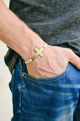 Bronze cross bracelet for men, beige cord