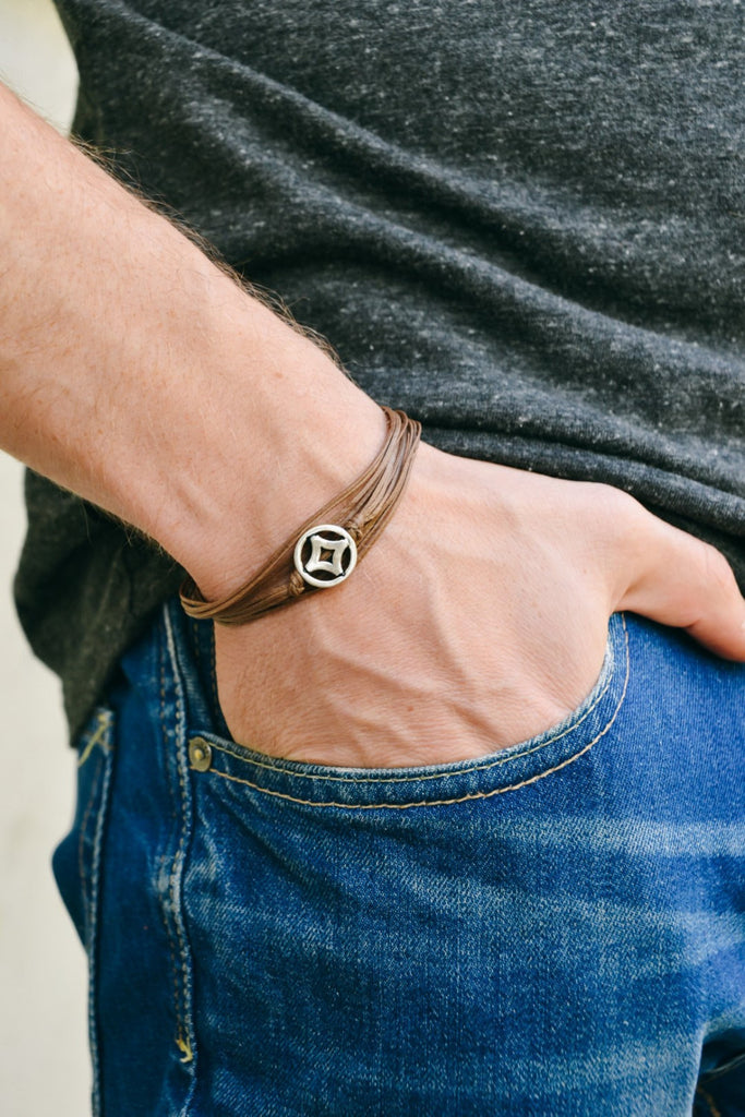 Silver circle wrapped bracelet for men, brown cord
