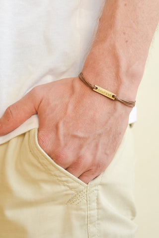 Courage bracelet for men, brown cord - shani-adi-jewerly